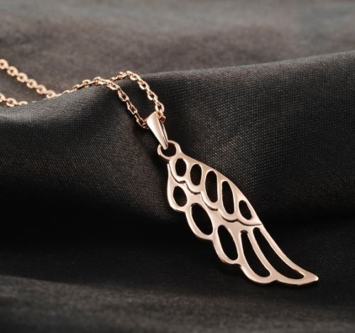 N11 Rose Gold Plated Guardian Angel Wing Necklace