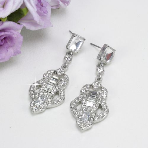 E12 Art Deco 1920s Gatsby Style Crystal Dangle Stud Earrings in Gift Pouch