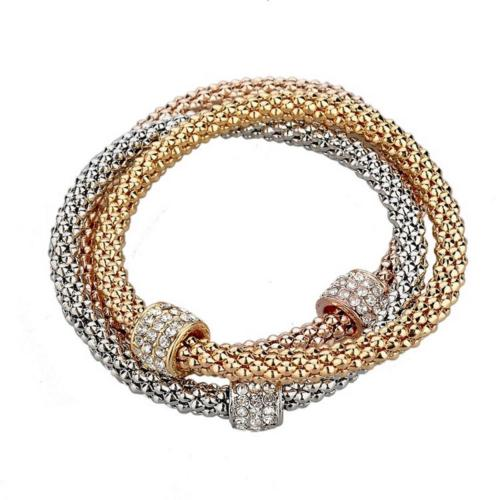 'Audrey' 3 Colour Gold Crystal Charm Bangle Bracelet Set