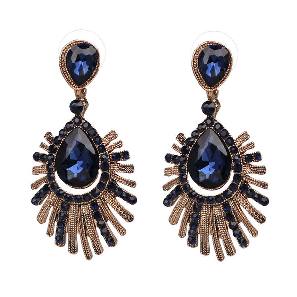 Vintage Style Party Blue Crystal Statement Earrings