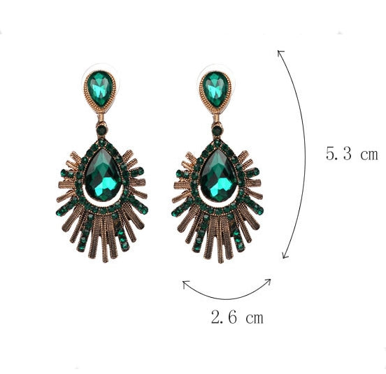 Vintage Style Party Green Crystal Statement Earrings