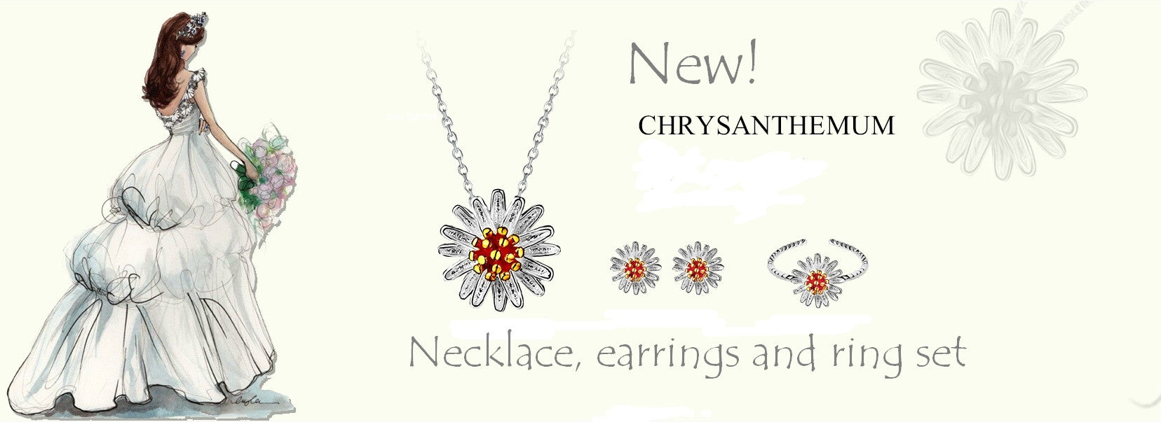 Crysanthemum daisy jewellery set