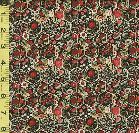 *Floral Fabric - In the Beginning - Garden Delights III - Mini Floral Hexagons - 11GSG-1 - Coral