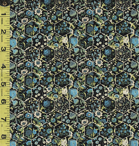 *Floral Fabric - In the Beginning - Garden Delights III - Mini Floral Hexagons - 11GSG-2 - Blue Green