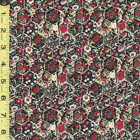 Floral Fabric - In the Beginning - Garden Delights III - Mini Floral Hexagons - 11GSG-3 - Magenta - ON SALE