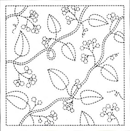 Sashiko Pre-printed Sampler - # 0013 Leaves & Berries - White