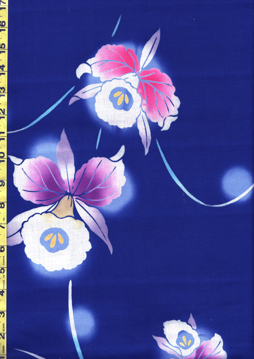 Yukata Fabric - 144 - Orchids on Blue