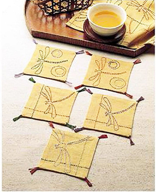 Sashiko Coasters - Dragonfly Coaster Kit # 160 - Gold