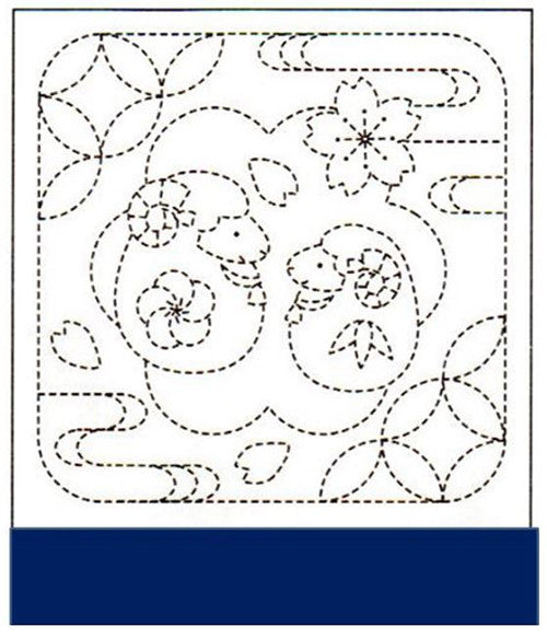 Sashiko Pre-printed Sampler - # 2018 Toy Lambs & Blossoms - Navy