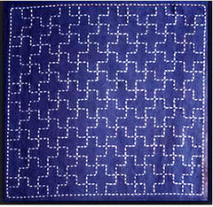 Sashiko Pre-printed Sampler - # 0208 Juji-tsunagi (Linked Crosses) - Navy