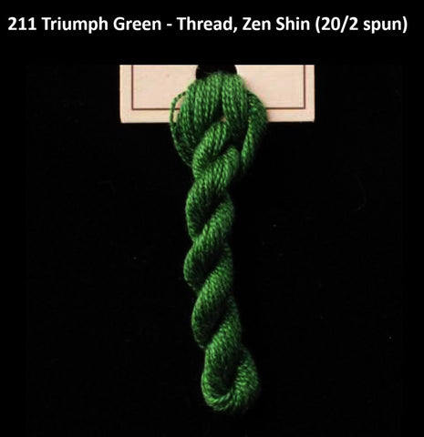 TREENWAY SILKS - Zen Shin (20/2) Silk Thread - # 0211 Triumph Green