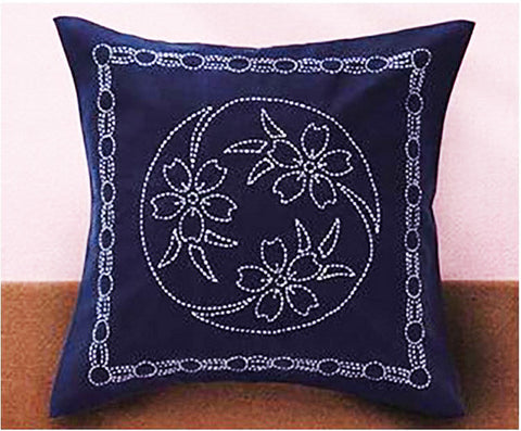 Sashiko Pillow Kit # 216 - Cherry Blossom - Navy