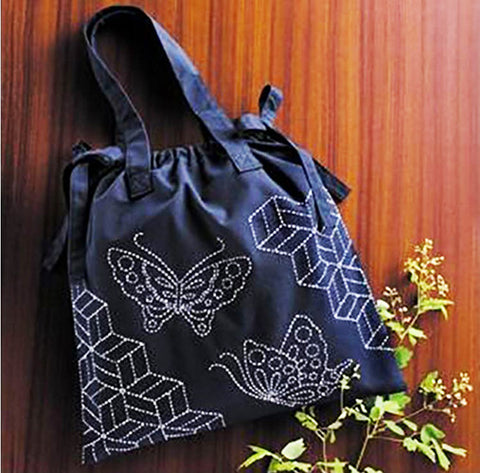 Sashiko Kit - Handbag # 257 - Butterflies & Tumbling Blocks
