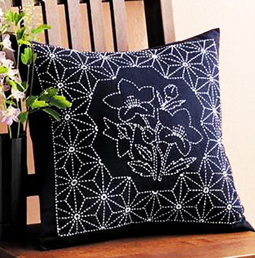 Sashiko Pillow Kit # 258 - Bell Flower - Navy
