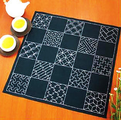 Sashiko Pre-printed Sampler - SC-EM290 - Multi-Patterned 13 Design Sampler Cloth - Navy