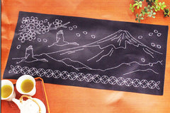 Sashiko Kit - Table Runner  # 291 - Mt. Fuji, Blossoms & Cranes Flying