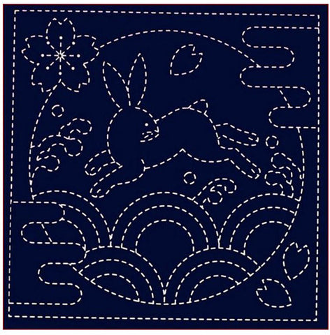 Sashiko Pre-printed Sampler - # 0390 Bunny over Waves - Navy