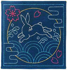 Sashiko Pre-printed Sampler - # 390 Bunny over Waves - Navy