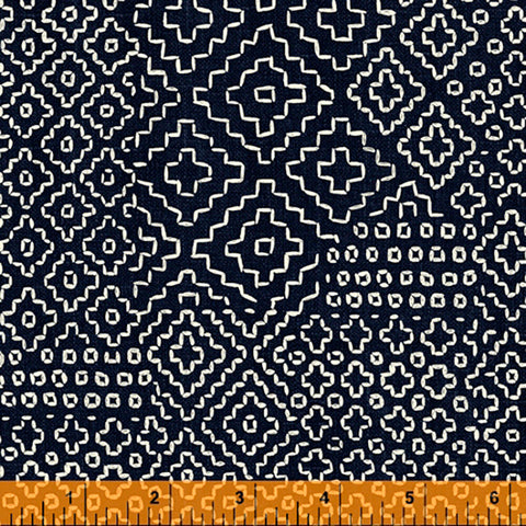 *Asian - Sashiko-Like Persimmon Stitch Sampler - 51811-2 - Indigo