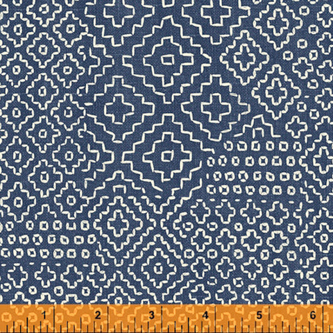 *Asian - Sashiko-Like Persimmon Stitch Sampler - 51811-3 - Denim