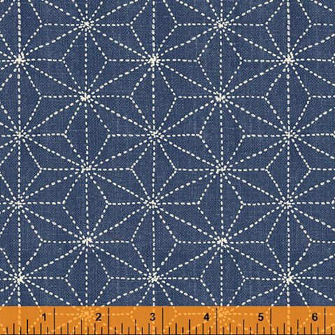 *Asian - Sashiko-Like Stitched Asanoha - 51812-3 - Denim
