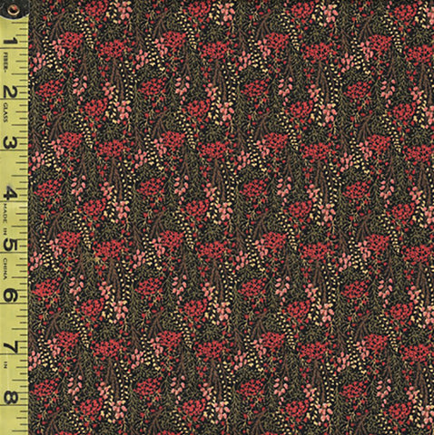 *Floral Fabric - In the Beginning - Garden Delights III - Miniature Leafy Branches - 5GSG-1 - Coral & Salmon