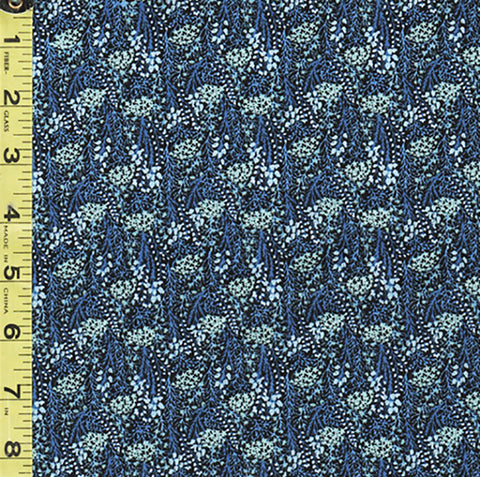 *Floral Fabric - In the Beginning - Garden Delights III - Miniature Leafy Branches - 5GSG-3 - Blue