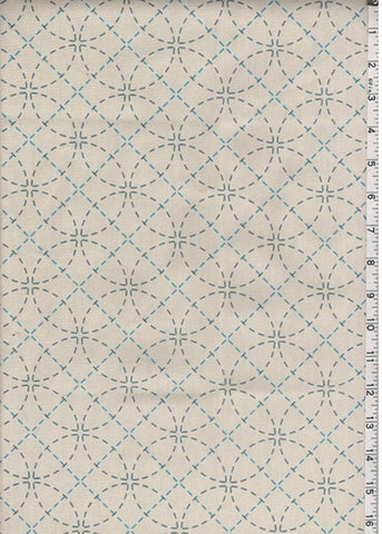 Sashiko Fabric - Pre-printed Sashiko Fabric - Seven Treasures - Natural