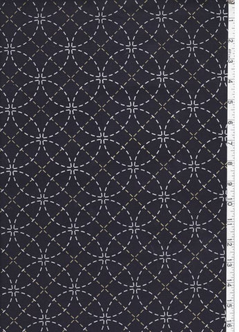 Sashiko Fabric - Pre-printed Sashiko Fabric - Seven Treasures - Dark Navy (Almost Black)