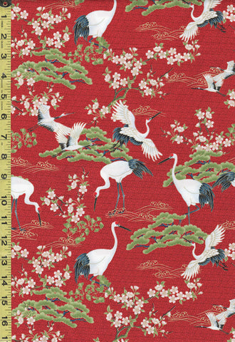 *Asian - Cranes, Pines & Cherry Blossoms - Red