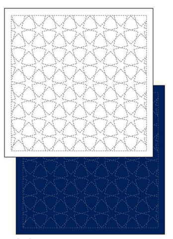 *New - Sashiko Pre-printed Sampler - Daruma Morning Glory (Asagao) - # 1204 - Navy