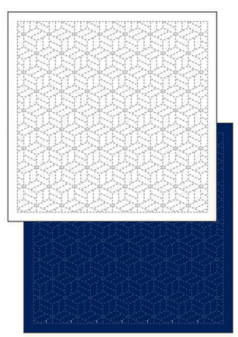 *New - Sashiko Pre-printed Sampler - Daruma Tumbling Blocks (Parquet)) - # 1207 - Navy
