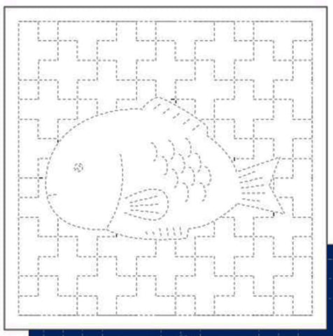 *New - Sashiko Pre-printed Sampler - Daruma Sea Bream Fish & Crosses - # 1052 - White