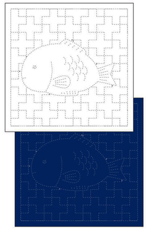 *New - Sashiko Pre-printed Sampler - Daruma Sea Bream Fish - # 1052 - White