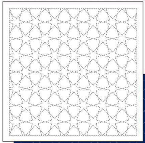 *New - Sashiko Pre-printed Sampler - Daruma Morning Glory Star (Asagao) - # 1004 - White