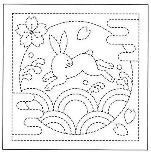 Sashiko Pre-printed Sampler - # 0090 Bunny over Waves - White