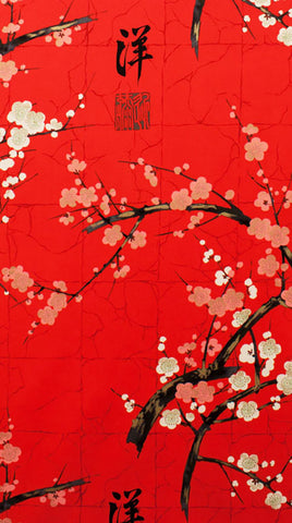 *Asian - Alexander Henry - Cherry Blossom Branches - Red