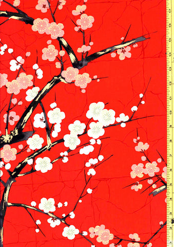 *Asian - Alexander Henry - Cherry Blossom Branches - Bright Red - Last 1 2/3 yd