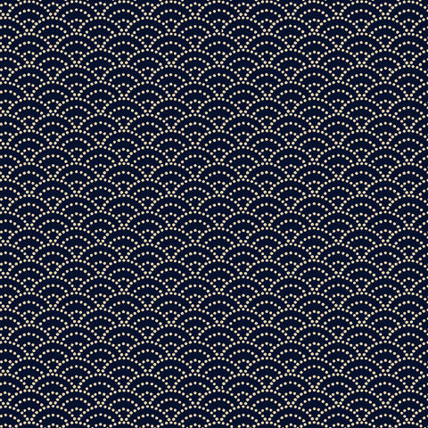 *Japanese -  Cosmo Classic Japanese - Small Dotted Wave (Seigaiha) - AP-5809-2A - Indigo