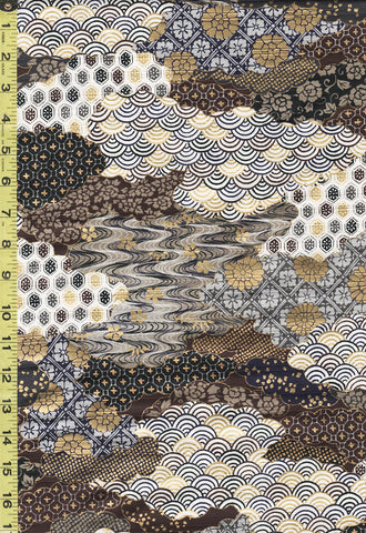 *Japanese - Cosmo Satin-Faced Shantung - Japanese Motif Clouds - AP02704-1D - GRAY
