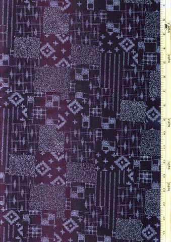 Japanese Indigo - AP1310-22 - Diamonds, Stripes & Squares Patchwork - Dark Navy/ Indigo