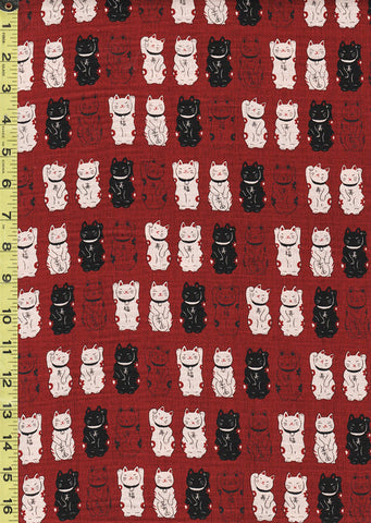 *Japanese Novelty - Cosmo Maneki Neko Kittens Waving - Dobby Weave - AP22308-2B - Dark Red, Ecru & Black