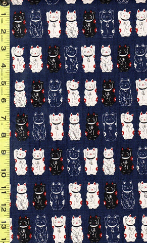 *Japanese Novelty - Cosmo Maneki Neko Cats Waving - Dobby Weave - AP22308-2C - Navy, Ecru & Black