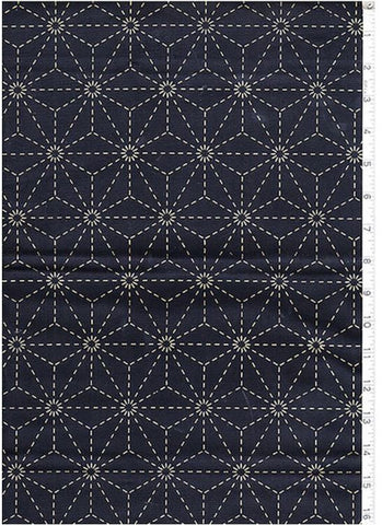Sashiko Fabric - Pre-printed Sashiko Fabric - Asanoha - Dark Navy (Almost Black)