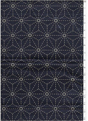 Sashiko Fabric - Pre-printed Sashiko Fabric - Asanoha - Dark Navy