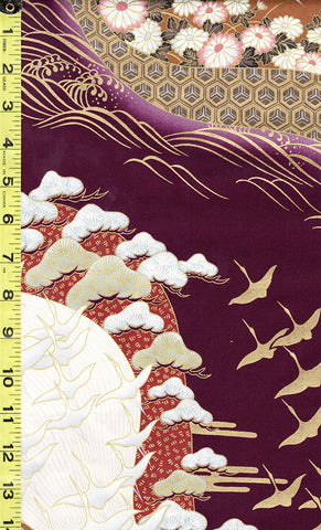 *Asian - Small Cranes Flying & Floral River - 35173 - Plum