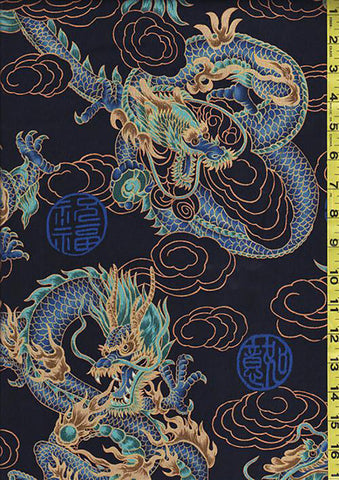 *Asian - Firey Dragons - Large Scale - Blue, Turquoise & Gold - Navy