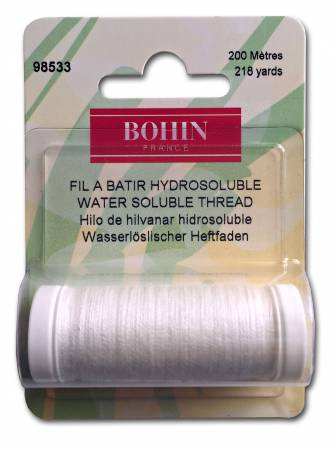 Notions - BOHIN Water Soluble Thread Spool White - 218 yd/220m - # 98533