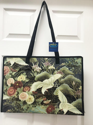 Kona Bay Bag - Holo Holo Large Bag - Flying Cranes & Floral Garden
