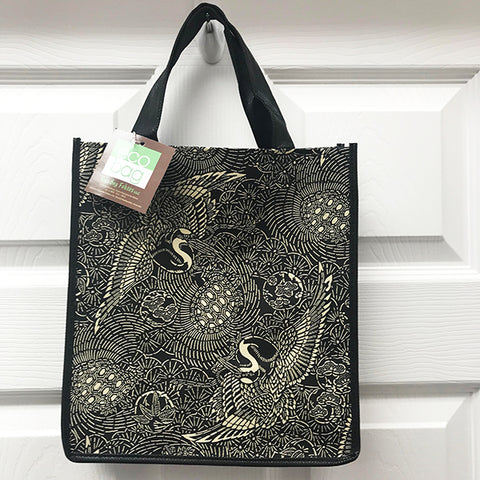 Kona Bay Bag - Eco Friendly Tote Bag - Japanese Crane & Tortoise